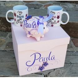Caja, tazas padres y cerdito